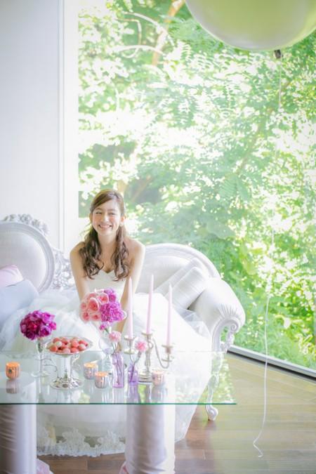 花嫁様|ピンクのテーブルコーディネート