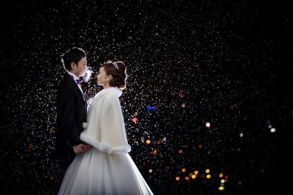 夜の結婚式|新郎新婦のおふたり|ピエトラセレーナ